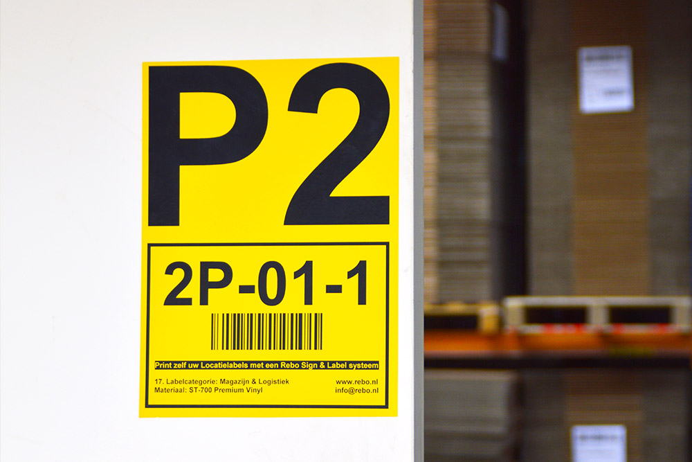 Grote locatie aanduidingen op A4 formaat voor magazijnen en werkplaatsen, leverbaar in diverse kleuren en kwaliteitssoorten. Snel en eenvoudig geprint met een Rebo labelprinter.